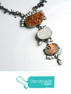 Citrine Druzy, Montana Moss Agate and Pearls Y Necklace from Fuss Jewelry :: http://www.amazon.com/dp/B0169EA6YA/ref=hnd_sw_r_pi_dp_yyxIwb0CCK2XE #handmadeatamazon