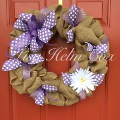Burlap wreath with lavender ribbon & white flower