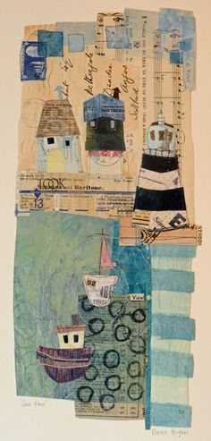 Love this collage, want to make one of my journey.Seaview - Oh Golly Gosh / Elaine Hughes - hand and machine stitched paper collages incorporating drawing, textiles and vintage ephemera Seaside Art, Coastal Art, Quilting, Creation Couture, Mix Media, Art Graphique, Mixed Media Collage, Art Journal Inspiration, Mail Art