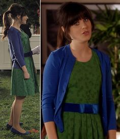 Zooey's green dress with blue bow belt on New Girl
