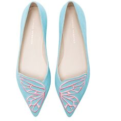 Sophia Webster Bibi Aqua Neon Suede Flats ($350) ❤ liked on Polyvore featuring shoes, flats, sophia webster shoes, suede shoes, flat pumps, flat shoes and embroidered shoes