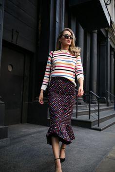 Polka Dot Midi Skirt + Rainbow Stripe Sweater