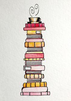 'Pink Lemonade Book Stack' Sticker by Emma Mildred Riggle - - A stack of pink-lemonade flavored books. Creative Bookmarks, Diy Bookmarks, Ribbon Bookmarks, Doodle Books, Doodle Art, Bullet Journal Ideas Pages, Bullet Journal Inspiration, Bookmark Craft, Watercolor Bookmarks