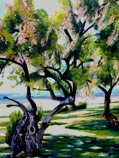 Artwork >> Sancelme Marie-Noelle >> Tamarisk Andernos  #artworks, #nature, #paining, #masterpiece, #trees, #sea