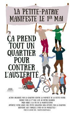Affiche pour la manifestation du 1er mai 2015 - Petite-Patrie - Montréal - Québec