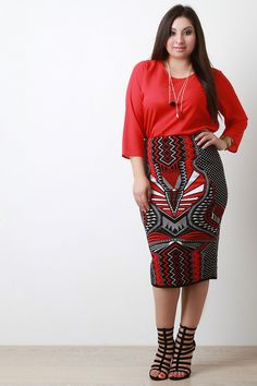 Thick Knit Mixed Pattern Print Pencil Skirt