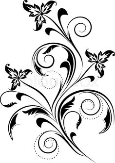 """Buy the royalty-free Stock vector """"Abstract floral background for design."""" online ✓ All rights included ✓ High resolution vector file for. Motif Design, Swirl Design, Swirl Nail Art, Drawing Stencils, Paper Quilling Patterns, Black And White Flowers, Floral Drawing, Free Hand Drawing, Color Pencil Art"""