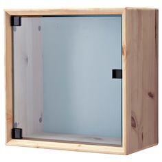 NORNÄS Glass-door wall cabinet - pine gray/blue - IKEA