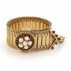 Antique Victorian Pearls & Gem 14k Gold Hidden Watch Wide Tassel Bracelet #Tassel