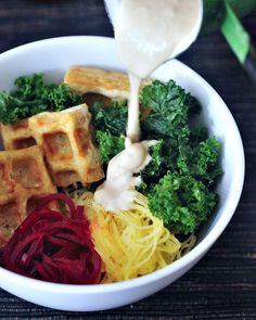 Kristina made this tofu IN THE WAFFLE IRON! She's my hero.  via @spabettie