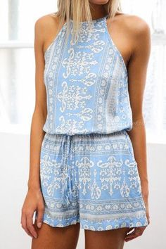 Light blue printed romper. With white and light grey detail. Stitch Fix Summer 2016 - resort wear