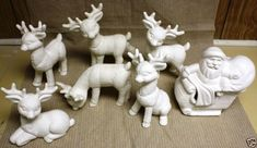 Special Ceramic Bisque Santa Cover and 4 Reindeer Kimple Mold 967 Ready to Paint for sale online Pottery Painting, Ceramic Painting, Ceramic Art, Ready To Paint Ceramics, Homemade Christmas Decorations, Ceramic Christmas Trees, Ceramic Bisque, Santa Sleigh, Reindeer