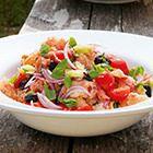 Een heerlijk recept: Panzanella Veggie Recipes, Healthy Recipes, Veggie Food, Italian Recipes, Thai Red Curry, Cobb Salad, Bbq, Veggies, Lunch