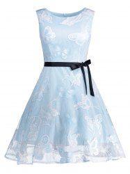 6164b1dba3e Butterfly Graphic Sleeveless Belted Dress - LIGHT BLUE Vintage Dresses  Online