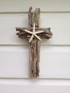 Driftwood Seashell Cross ~by My Honeypickles