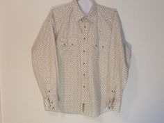 Larry Mahan Shirt Western Cowboy Collection 100% Cotton Snap XL L/S Beige #LarryMahanCowboyCollection #Western