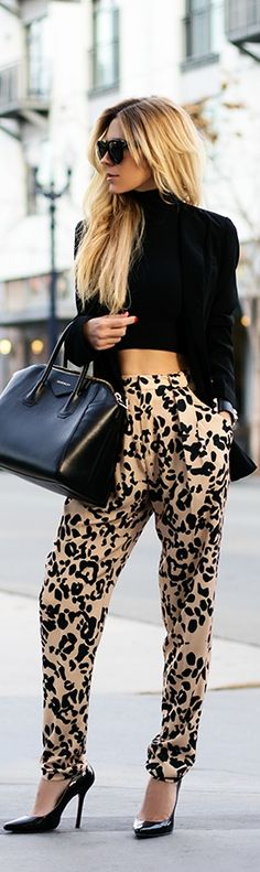 Black & animal print complete an outfit.