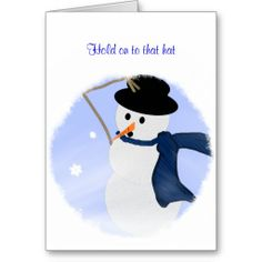 Snowman in the Wind Holiday Card