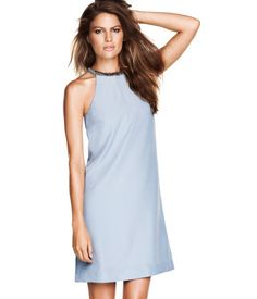 Light Blue Shift Dress with Beading at Neckline - H