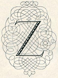 Z by Johann Georg Schwandner, Vienna 1756. From Lehner's Alphabets & Ornaments, 1952.