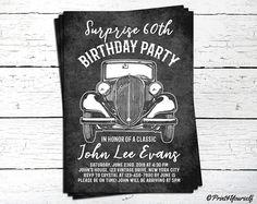 Classic Car Birthday Invite. Classic Car Invitation. 60th Birthday invite. Vintage Birthday Invite. Manly invitation. Retro invitation.