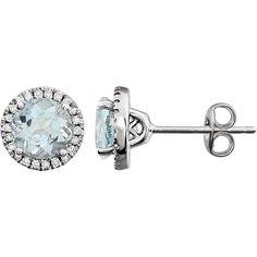 14kt White Gold Aquamarine & 1/8 CTW Diamond Earrings...(651302:70003:P).! Price: $369.99 #diamonds #gemstone #birthstone #fashion #jewelry #love #gift #marchbirthstone
