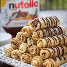 """Yum!!!  - Nutella Stuffed Crepes Made By @LetTheBakingBegin  Crepe Batter 6 large eggs 1 tsp salt 1 Tbsp sweetener  1½ cups flour of choice 4 cups milk…"""