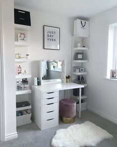 Shop for Furniture, Home Accessories & Room Ideas Bedroom, Teen Room Decor, Small Room Bedroom, Bedroom Decor, Long Bedroom Ideas, Small Bedroom Vanity, Vanity Room, Ikea Shelves Bedroom, Ikea Lack Shelves