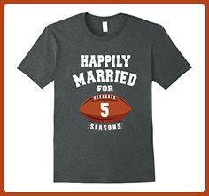 Mens 5th Wedding Anniversary T-Shirt Football Couple Gift Medium Dark Heather - Sports shirts (*Partner-Link)