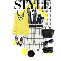 B&w vs Yellow by carolinamizan on Polyvore featuring polyvore, fashion, style, Dorothy Perkins, Cameo, Bling Jewelry, Pieces and Linea Pelle