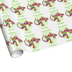 Custom Name Rainbow Salamander Birthday Gift Wrap Paper
