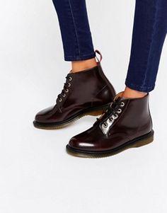 Dr Martens – Kensington Emmeline – Kirschrote Stiefel mit 5 Ösen