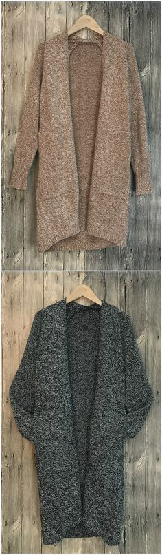 Batwing Sleeve Open front Knitted Cardigan with Pockets
