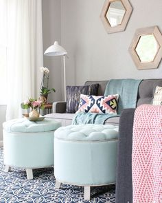 Aposte em tons pastel na decor da sala de estar. Um charme! #decoration…