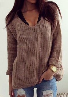 Coffee Plain Hollow-out V-neck Long Sleeve Loose Vintage Casual Pullover Sweater - Pullovers - Sweaters - Tops