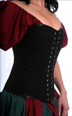 Renaissance Medieval Pirate Tudor SCA Wench Costume Black Cotton Corset AC4 1x | eBay