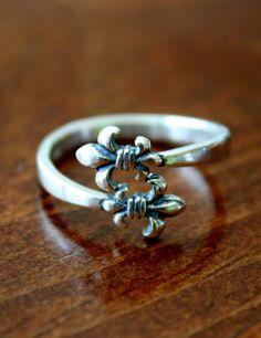 Fleur de Lis Jewelry, Sterling Silver Adjustable Size fleur de Lis Ring on Etsy, $33.00