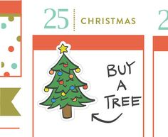 P318 Christmas tree planner stickers 18 stickers