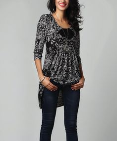 Another great find on #zulily! Black & White Paisley Empire-Waist Tunic Dress - Plus Too #zulilyfinds