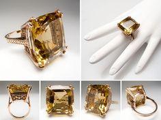Massive 48 Carat Citrine Cocktail Ring 14K Gold Retro Vintage - EraGem
