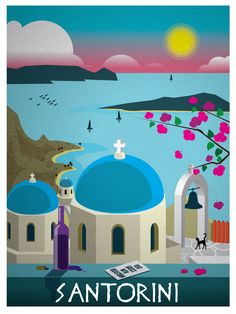 Vintage Santorini Travel Poster