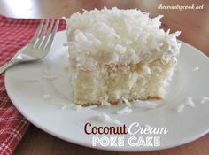 Coconut Cream Poke Cake 1 (18 oz.) box white cake mix  ingredients needed to make cake (egg whites, oil & water)  1 (15 oz.) can Cream of Coconut  1 (8 oz) container frozen whipped topping, thawed  1 (8 oz) package sweetened flaked coconut