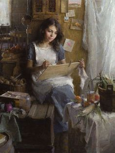"""""""The Artist"""" - Morgan Weistling {contemporary figurative impressionist painter beautiful female seated in art studio painting still life} Ambitious!! morganweistling.com"""