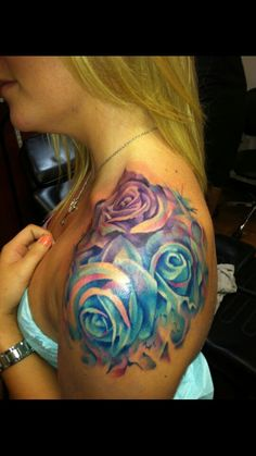 Love the color of these watercolor roses/ rose tattoo/ watercolor tattoo / shoulder tattoo