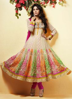 Ravishing Cream Georgette Anarkali Suit- Can't wait to wear this for Eid this year!!!