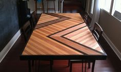 Beautiful tabletop made from #eco-friendly plywood that was hand stained, then glued/nailed and sealed for protection