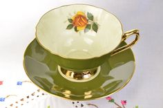 Elizabethan fine bone china tea cup and saucer/ olive green tea cup/ hand decorated/ majestic