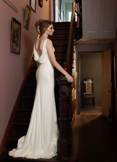 Silk wedding dress @ Helen English. Love the elegance and simplicity of this gown.