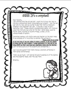 Letter asking parents to send positive messages for ...