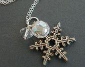 Bridesmaid winter wedding silver necklace, snowflake jewelry  #Icejewelry #estylojewelry